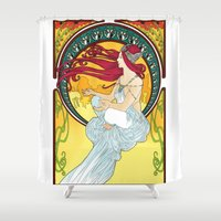 meditation Shower Curtains featuring Meditation  by Leassel