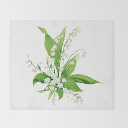 White Lilly Bouquet Throw Blanket