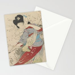 Japanese Meiji Period Print - Cherry Blossom Flurry Stationery Cards