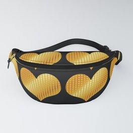 Golden hearts-Black Fanny Pack