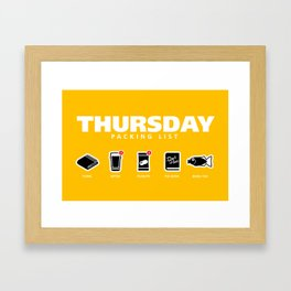 THURSDAY - The Hitchhiker's Guide to the Galaxy Packing List Framed Art Print