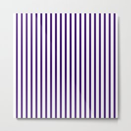 Violet & White Vertical Stripes Metal Print