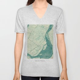 Montreal Map Blue Vintage Unisex V-Neck