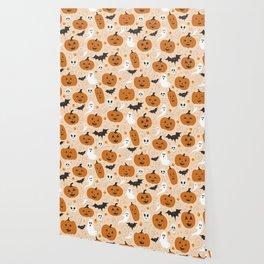 Pumpkin Party on Beige Wallpaper