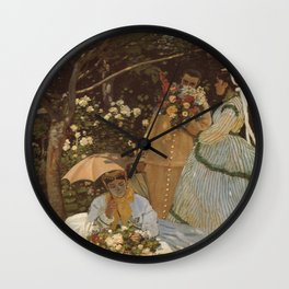 Monet- Women in the Garden, nature,Claude Monet,impressionist,post-impressionism,painting Wall Clock