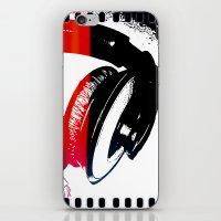 headphones iPhone & iPod Skins featuring Headphones by Derek Fleener