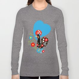 Portuguese Rooster of Luck with blue dots Long Sleeve T-shirt