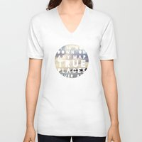 maps V-neck T-shirts featuring Maps(2) by Tina Crespo