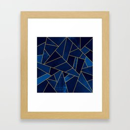 Blue stone with yellow lines Framed Art Print