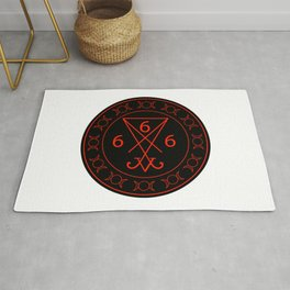 666- the number of the beast with the sigil of Lucifer symbol Rug