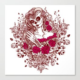 Sexy Woman zombie WITH Flower - Razzmatazz Canvas Print