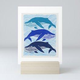 Whale Block Print Mini Art Print