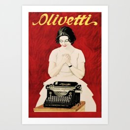 Vintage Stationery & Printing Olivetti Typewriters, Italian Advertisement Poster by Marcello Dudovich  Art Print
