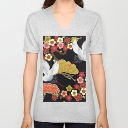 Japanese crane bird hand drawn illustration pattern on dark background.  Unisex V-Neck