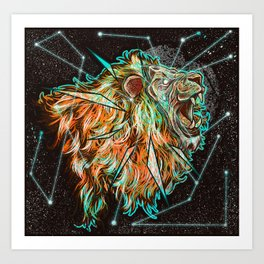 Space lion  Art Print
