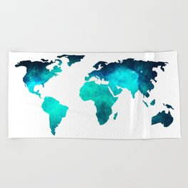 World Map Space Galaxy Stars in Turquoise Beach Towel