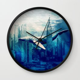 Blue Whale in NYC Wall Clock