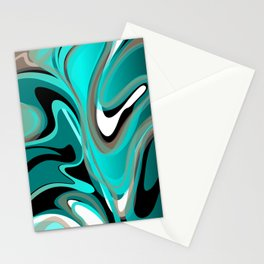 Liquify 2 - Brown, Turquoise, Teal, Black, White Stationery Cards