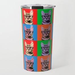Pop Art Cat in Four Colors Travel Mug