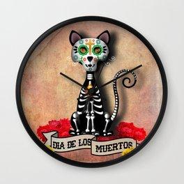 Dia De Los Muertos El Gato - Day of the Dead the Cat Wall Clock
