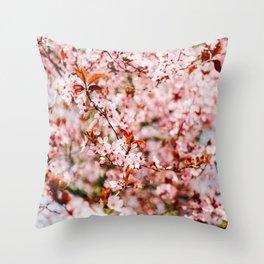 Cherry Blossom Tree (Color) Throw Pillow
