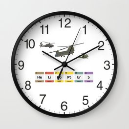 Military Helicopters Chemistry Wall Clock