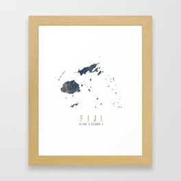 Blue and Gold Map of Fiji Framed Art Print