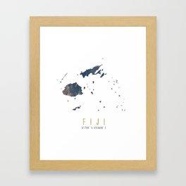 Fiji Map // Blue and Gold Metallic Dots Framed Art Print