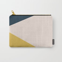 Jag. Minimalist Geometric Color Block in Navy Blue, Mustard Yellow, and Pale Blush Pink Carry-All Pouch