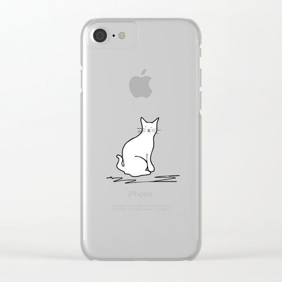white cat on pink Clear iPhone Case