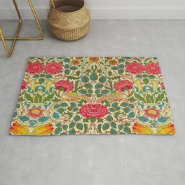 William Morris Roses Floral Textile Pattern Rug