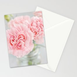 Pale Pink Carnations 3 Stationery Cards