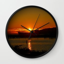 Sunset Over Columbia River At Astoria Harbor Wall Clock