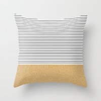 stripes Throw Pillows featuring Minimal Gold Glitter Stripes by Allyson Johnson