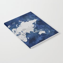 Dark blue watercolor and grey world map Notebook