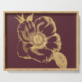 Gold flower on tawny port Serving Tray