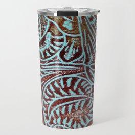 Light Blue & Brown Tooled Leather Travel Mug