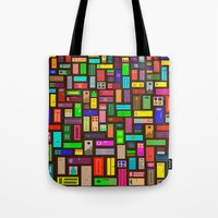 doors Tote Bags featuring Doors - Black by Finlay McNevin