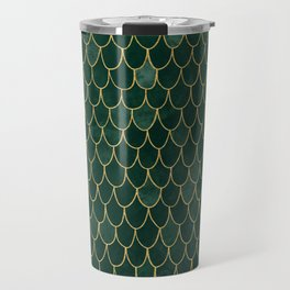 Mermaid Fin Pattern // Emerald Green Gold Glittery Scale Watercolor Bedspread Home Decor Travel Mug