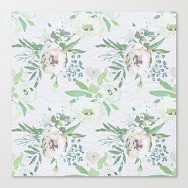 Blush pink white green watercolor modern floral berries pattern Canvas Print