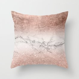 Modern faux rose gold glitter and foil ombre gradient on white marble color block Throw Pillow
