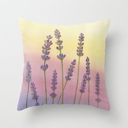Lavender in Sunset Throw Pillow