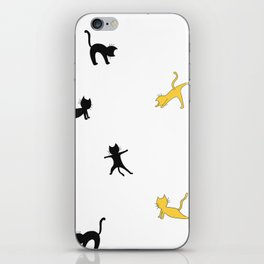 Black and yellow cats doing yoga iPhone Skin