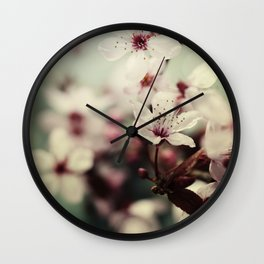 Spring blossom on rustic wooden table Wall Clock