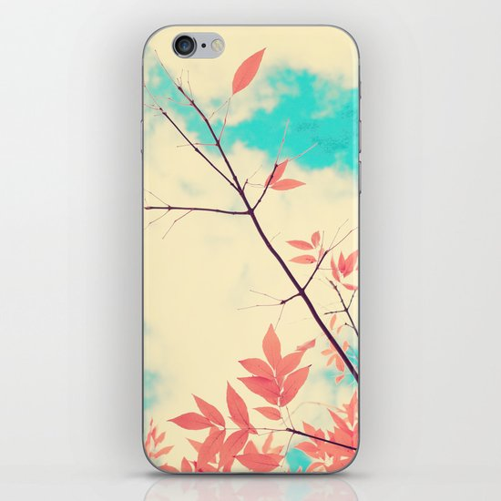 Pink fall leafs on retro vintage sky  iPhone & iPod Skin