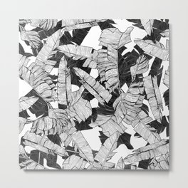 Modern Black and White Tropical Banana Leaves Metal Print