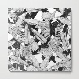 Modern Black and White Tropical Banana Leaves Metal Print