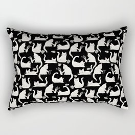 Bad Cats Knocking Things Over, Black & White Rectangular Pillow