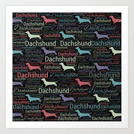 Dachshund silhouette and word art pattern Art Print