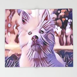 The White Finnish Lapphund Throw Blanket